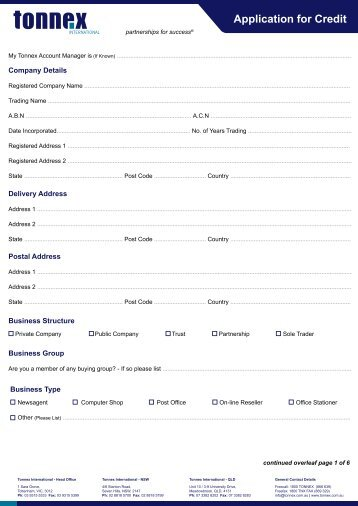 Credit Application Forms   Tonnex International