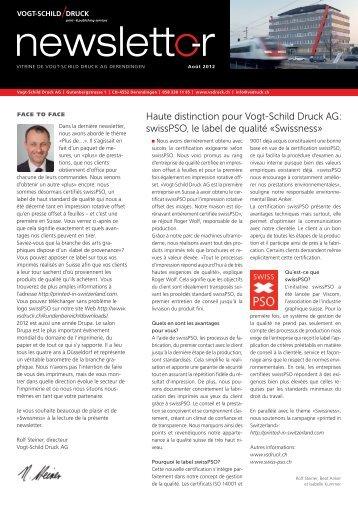 swisspso, le label de qualité «swissness - Vogt-Schild Druck AG