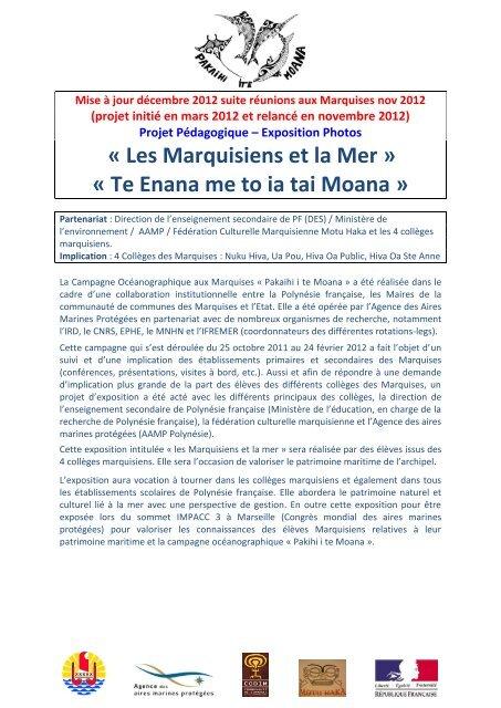 Les Marquisiens et la Mer - Direction des Enseignements Secondaires