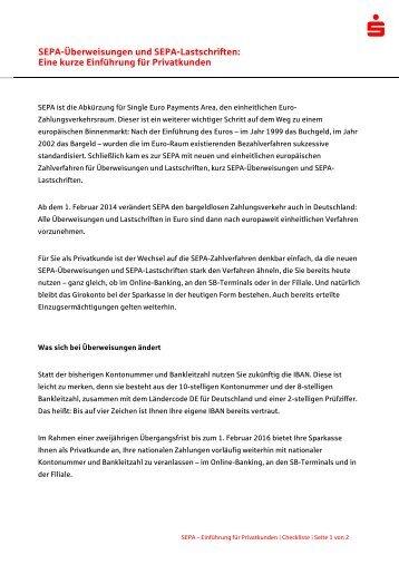 Zur SEPA-Einführung - Sparkasse Gifhorn-Wolfsburg
