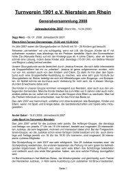 Turnverein 1901 eV Nierstein am Rhein Generalversammlung 2008