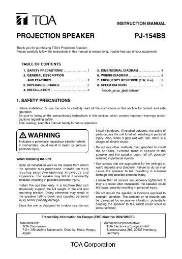 PROJECTION SPEAKER PJ-154BS WARNING - Eltek