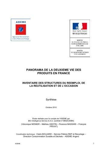 PANORAMA DE LA DEUXIEME VIE DES PRODUITS EN FRANCE