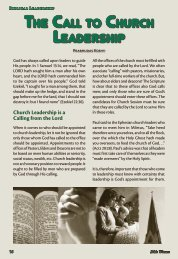 The call TO church leadershiP - Bible Witness Media Ministry