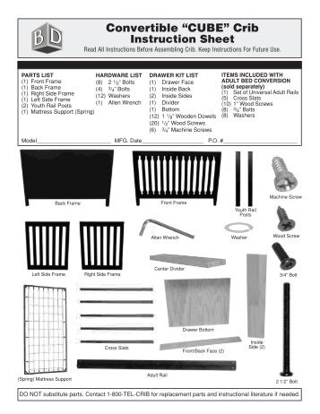 Cocoon 2000 Instruction Sheet Baby S Dream Furniture