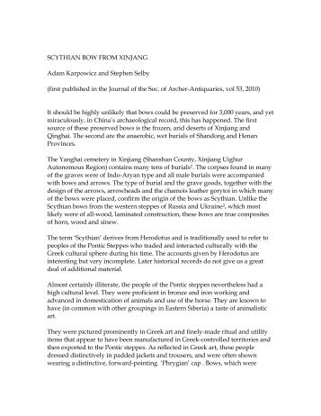 SCYTHIAN BOW FROM XINJANG - Atarn.org