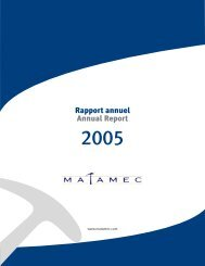 Rapport annuel Annual Report Annual Report - Matamec ...