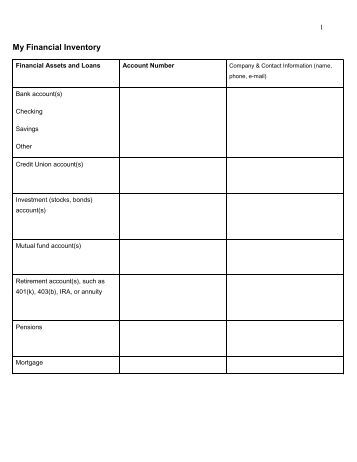 Worksheets Financial Inventory Worksheet financial inventory worksheet my worksheet