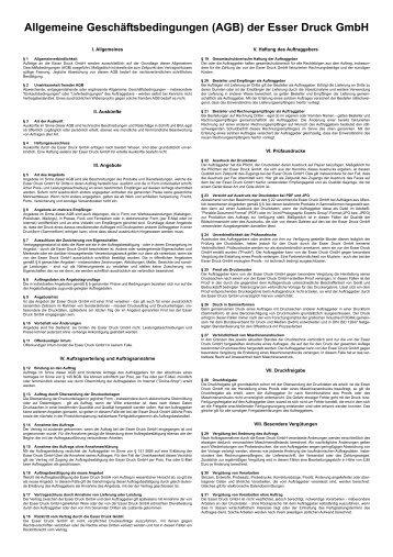 Allgemeine Geschäftsbedingungen (AGB) der Esser Druck Gmbh