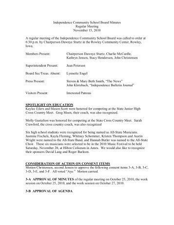 Independence Community School Board Minutes Regular Meeting ...