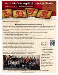 Weekly Announcements 2-5-13 - Our Savior's Evangelical Lutheran ...