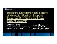 Integrating Management and Security at Microsoft – Forefront ...