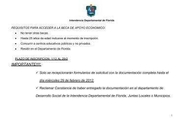 IMPORTANTE!!!!: - Intendencia Municipal de Florida