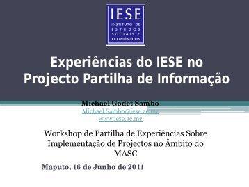 Experiências do IESE no Projecto Partilha de Informação