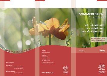 SOMMERFERIEN SOMMERFERIEN - Loheland Stiftung
