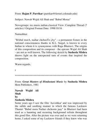 Wajid Ali Shah - Rajan Parrikar Music Archive