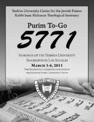 yeshiva university • purim to-go • adar 5771 - YU Torah Online