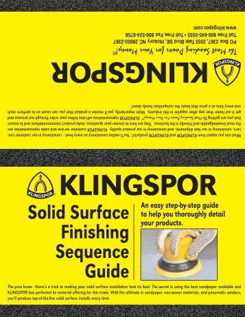 Solid Surface Finishing Sequence Guide - Klingspor