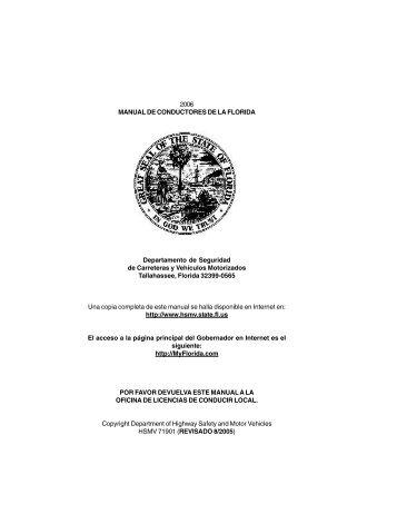 2006 MANUAL DE CONDUCTORES DE LA FLORIDA de ... - Dmv.org