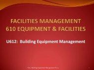 U612 Building Equipment Management - Facilities Management