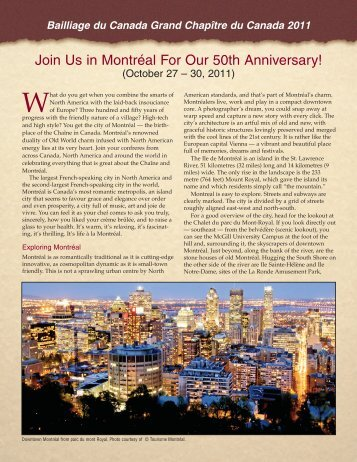 Join Us in Montréal For Our 50th Anniversary! - la Chaine des ...