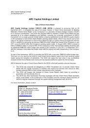 Sale of Orient Home Retail - ARC Capital Holdings Ltd