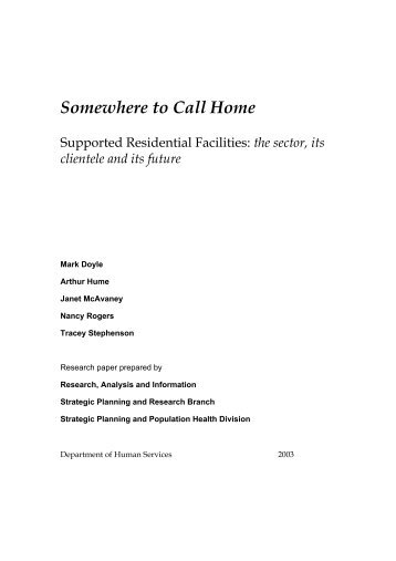 Somewhere to Call Home - Department for Communities and Social ...