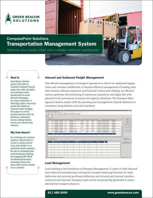 Transportation Management System - Green Beacon Solutions