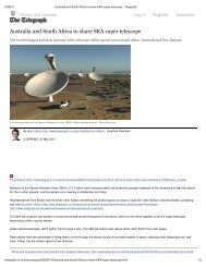 Australia and South Africa to share SKA super telescope