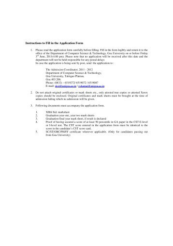 Instructions to Fill in the Application Form - Goa University