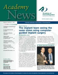 The implant team seeing the same vision using - Academy of ...