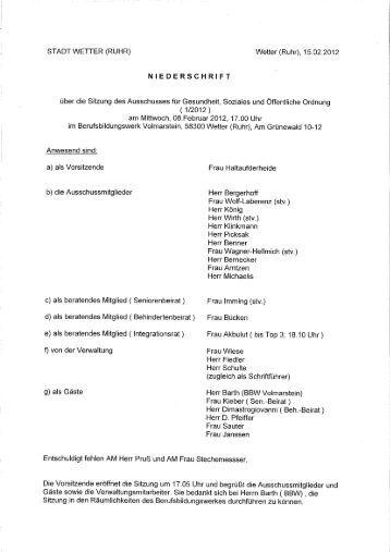 Protokoll zur Sitzung Nr. 1/12 vom 8.2 - Stadt Wetter