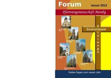 Forum Januar 2012 - Pfarreiengemeinschaft