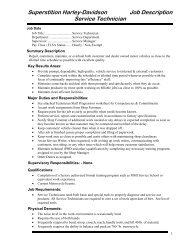 Superstition Harley-Davidson Job Description Service Technician