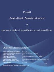 """Projekt """"Svatostánek českého vinařství"""" a cestovní ruch v ..."""