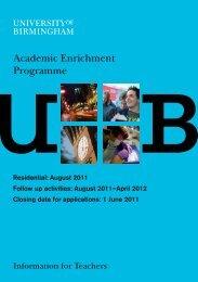 Academic Enrichment Programme - University of Birmingham