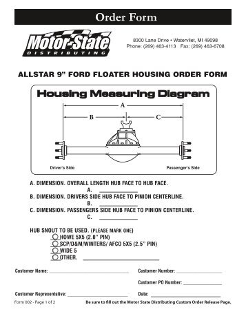 Custom Axle Order Form  Motor State Distributing