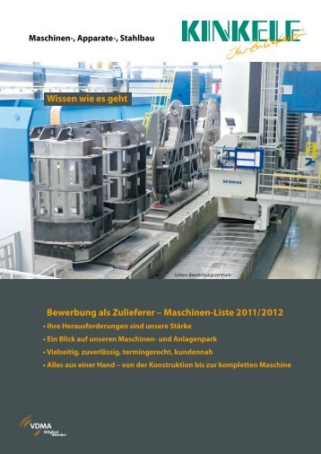 Bewerbung als Zulieferer – Maschinen-Liste 2011/2012 ... - Kinkele