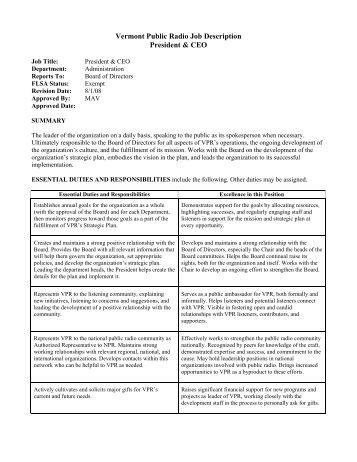 Vermont Public Radio Job Description President & CEO
