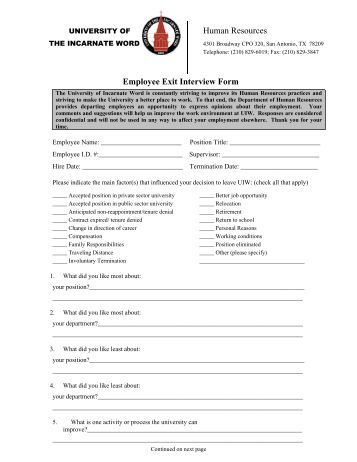 employee exit interview form