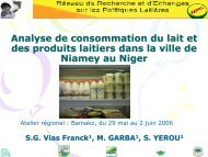 Analyse de consommation et des produits laitiers dans la ... - REPOL