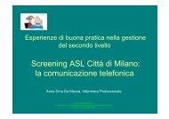 Screening ASL Città di Milano: la comunicazione telefonica