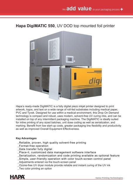 Hapa Digimatic 550, UV DOD top mounted foil printer