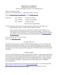 Principles of Marketing Syllabus - UCO College of Business ...