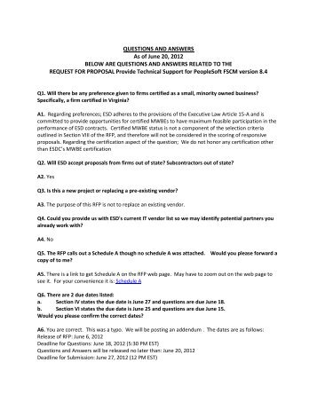 QUESTIONS AND ANSWERS As of June 20, 2012 BELOW ARE ...