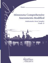 Mathematics MCA-Modified Grade 11 Item Sampler - Minnesota ...