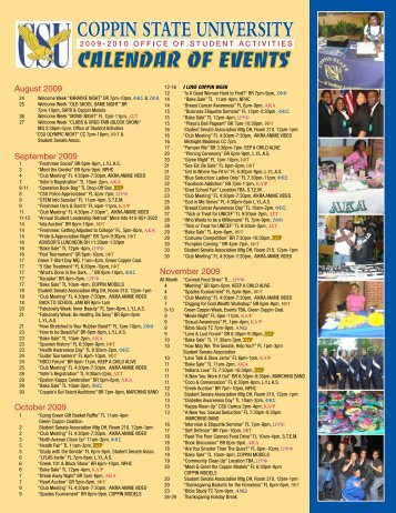 Download the Calendar of Events - Coppin State University