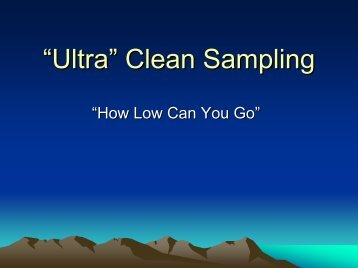 Ultra Clean Sampling - Teledyne Leeman Labs