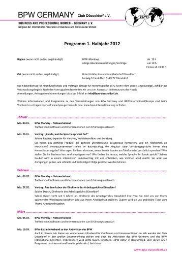 Programm 1. Halbjahr 2012 - BPW Essen