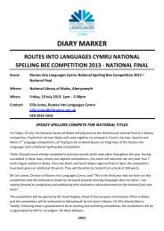 diary marker routes into languages cymru national spelling bee ...